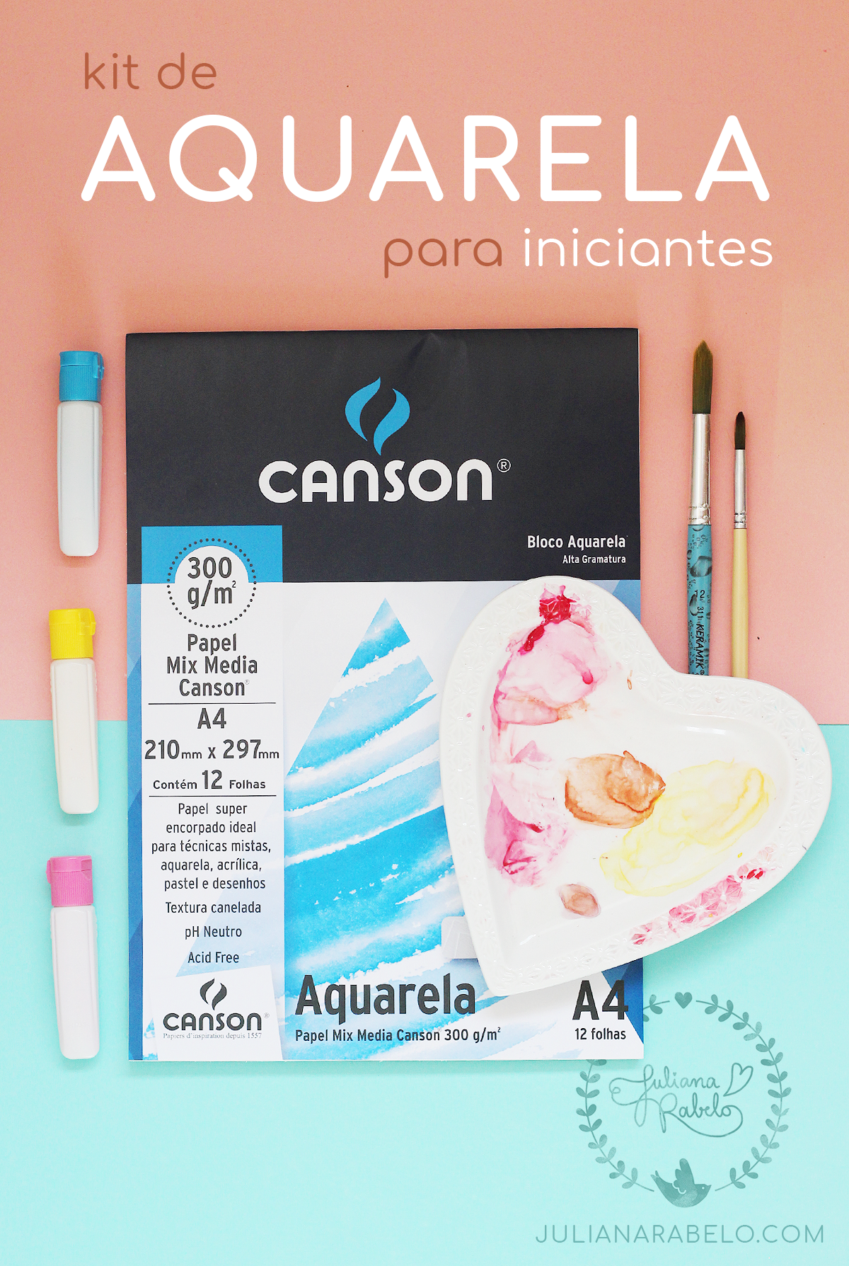 kit de aquarela para iniciantes - Juliana Rabelo