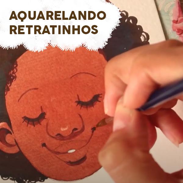 aquarelando retratinhos - aula gratuita - Juliana Rabelo